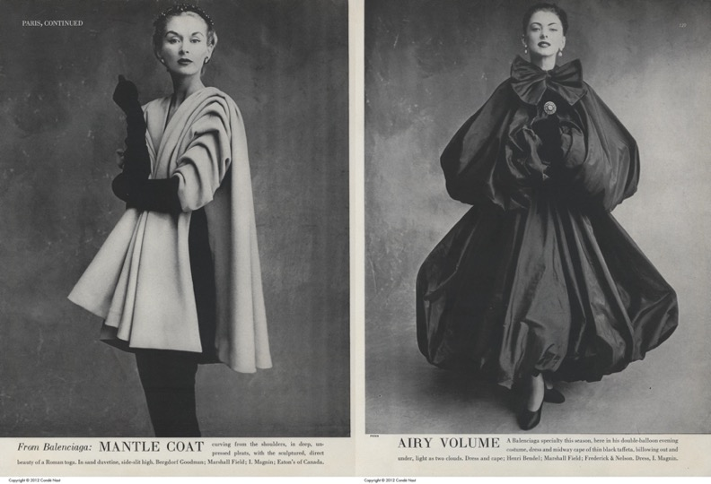 'From Balenciaga: Mantle Coat/Airy Volume', Irving Penn for Vogue, September 1950. © The Condé Nast Publications Inc.