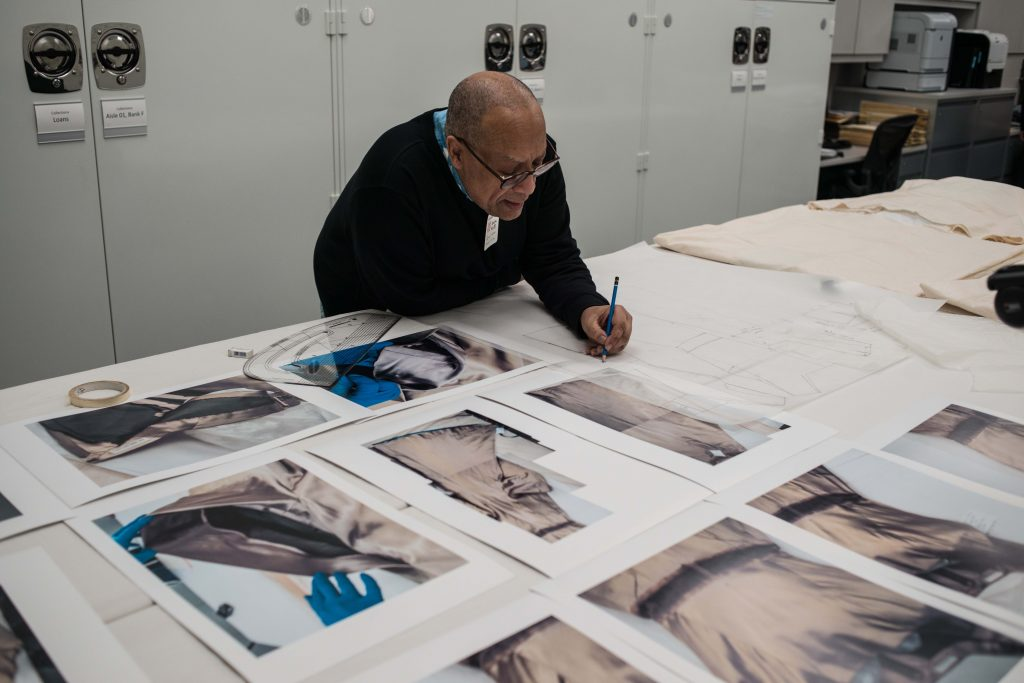 Patrick creating a Charles James pattern at The Costume Institute. Image by Liam Leslie for Exploding Fashion.